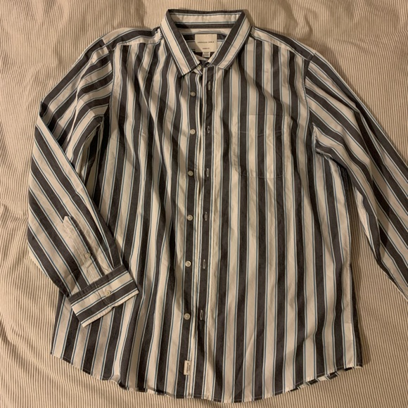 American Eagle, grey and white button down, XL